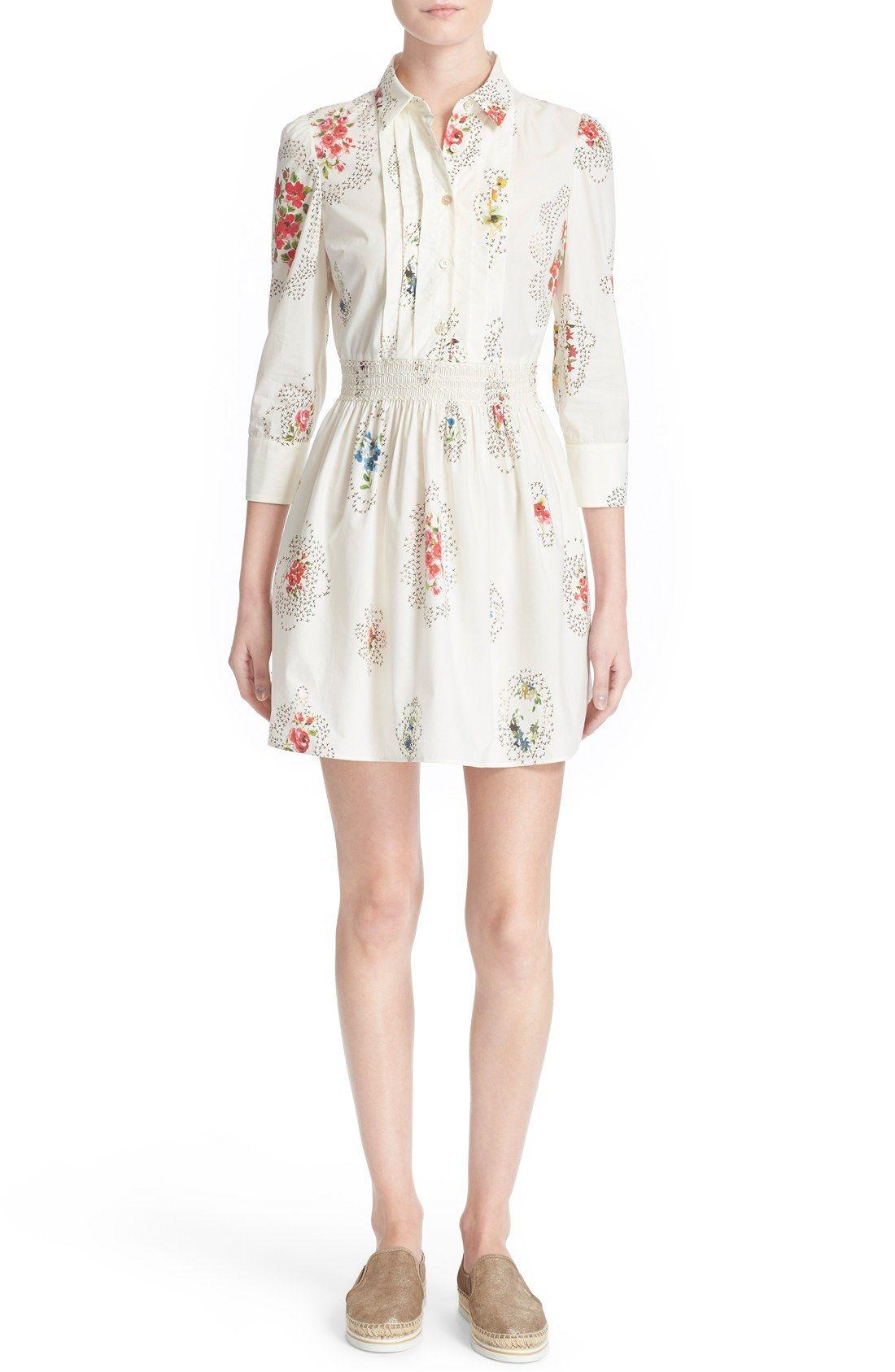 RED Valentino Framed Floral Print Cotton Dress
