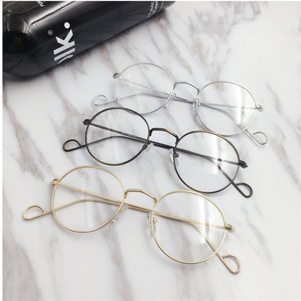 c7182438b1 Men Women Vintage Round Circle Eyeglasses Clear Lens Casual Optical Glasses  - Banggood Mobile