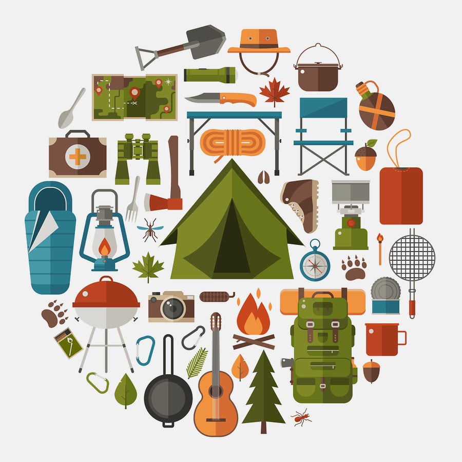 Hiking icons set. Camping equipment vector collection ...
