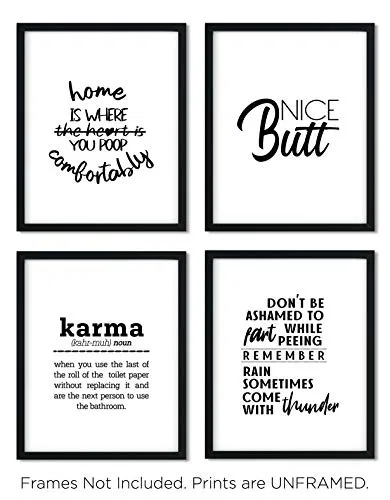 Funny Bathroom Art Prints Unframed Wall Art Great Gift Set Of 4 Quotes Eleven Sets Available Set 5 In 2020 Funny Bathroom Art Bathroom Art Prints Bathroom Art