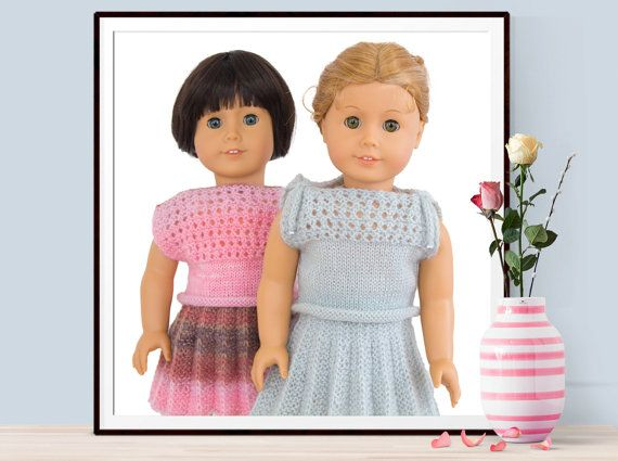 Knitting Pattern For American Girl Dolls 18 Inch Doll Clothes Knitted Skirt Lace Top Dress PDF