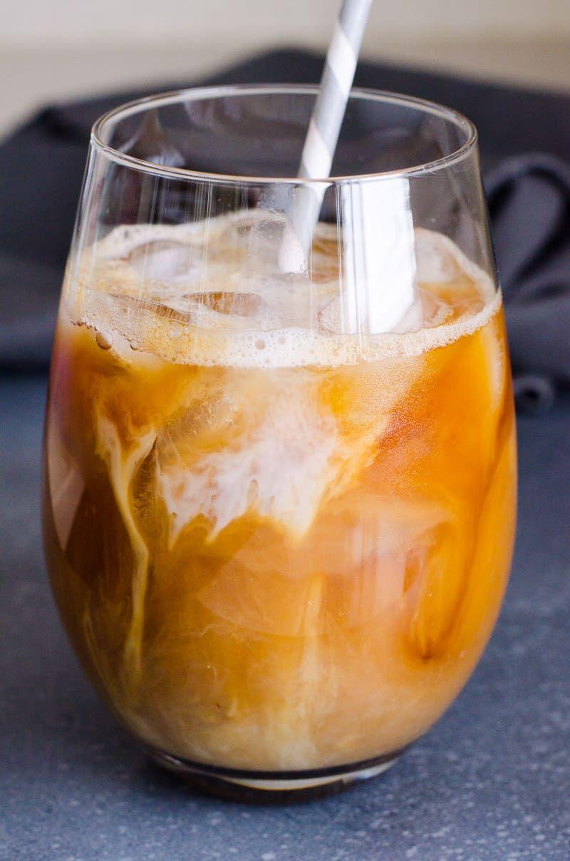 Healthy iced coffee recipe with almond milk sugar free