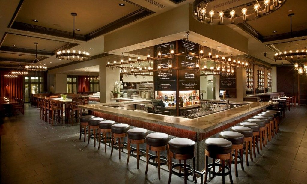 Beige And Grey Color Scheme Modern Restaurant Bar With Large