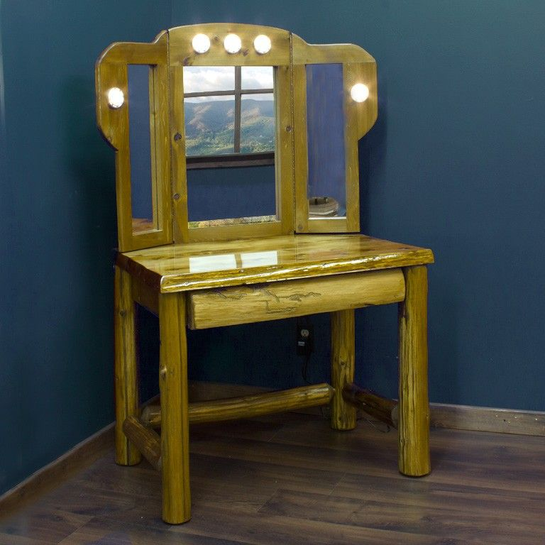 Our Cedar Lake Log Makeup Vanity   Mirror Set is hand crafted from hand  peeled cedar logs  Visit us online or call us   for more rustic decor. White makeup vanity wit flip up mirror    Makeup Vanities