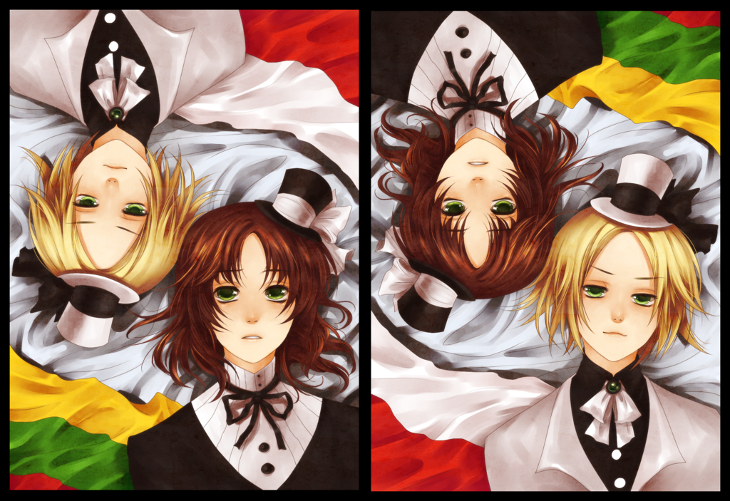 LAME CANT DRAW CLOTHES OMGGG I guess this might or might not be a print for kcon... just half o'course. Poland + Lithuania. I don't even like this pairing that much, but Poland is fab. :< Charac...