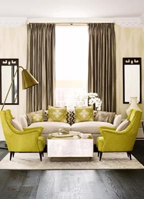 love the punch of color and furniture layout
