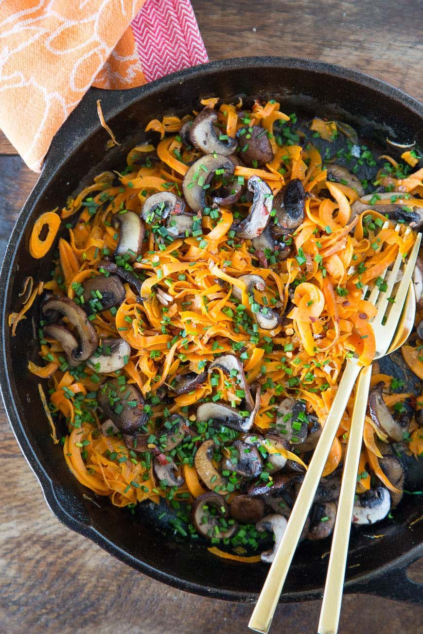 Taking meatless monday up and level and introducing you to sweetpotato noodles with caramelized mushrooms and chives!! You'll be totally obsessed