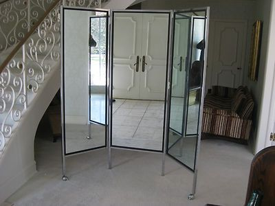 HUGE 3 panel MID CENTURY MODERN Chrome Floor Mirror Milo Baughman ...