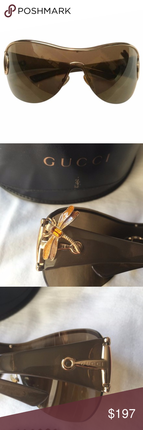 c86b3f17224 😎⚡️GUCCI  Rare  Horsebit Dragonfly Sunglasses Authentic RARE Gucci  Horsebit Dragonfly shield sunglasses in Amber   Gold. These chic shades  feature ...