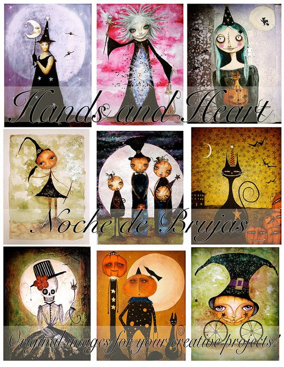 Noche de brujas digital collage sheet by arthandsandheart on Etsy, $3.99