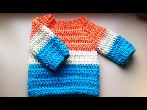 crochet baby sweater/jumper/pullover - YouTube | Häkeln | Pinterest ...