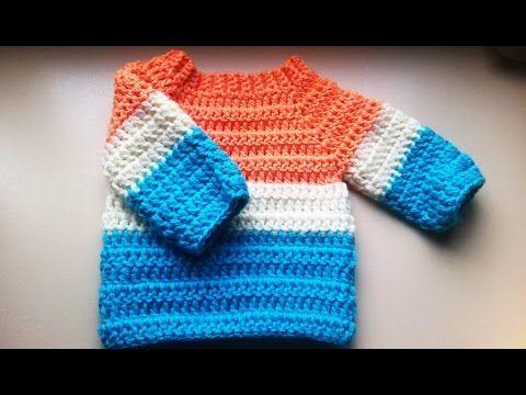 Easy to crochet baby cardigan / Crochet baby sweater (Video 1 ...