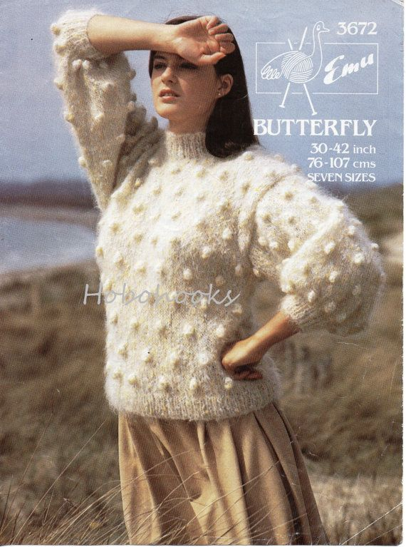 Vintage Womens Knitting Pattern Womens Chunky Mohair Bobble Sweater ...