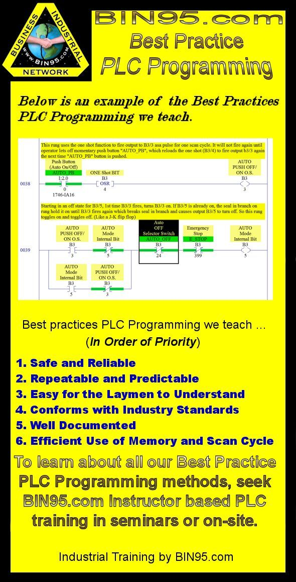 An example of the Best Practices PLC Programming we teach