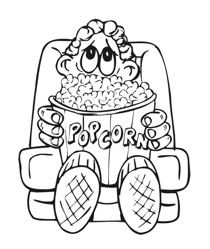 The Boy And Big Popcorn Coloring Page