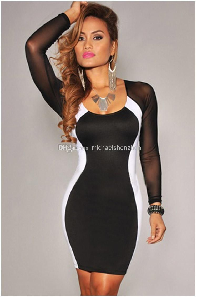 Wholesale 2014 Newest Hot Sexy Girls Women Fashion Evening Dresses Cocktail  Long Sleeve Party Prom Club Wear Low-cut Bodycon Dress 3colors 89292d380