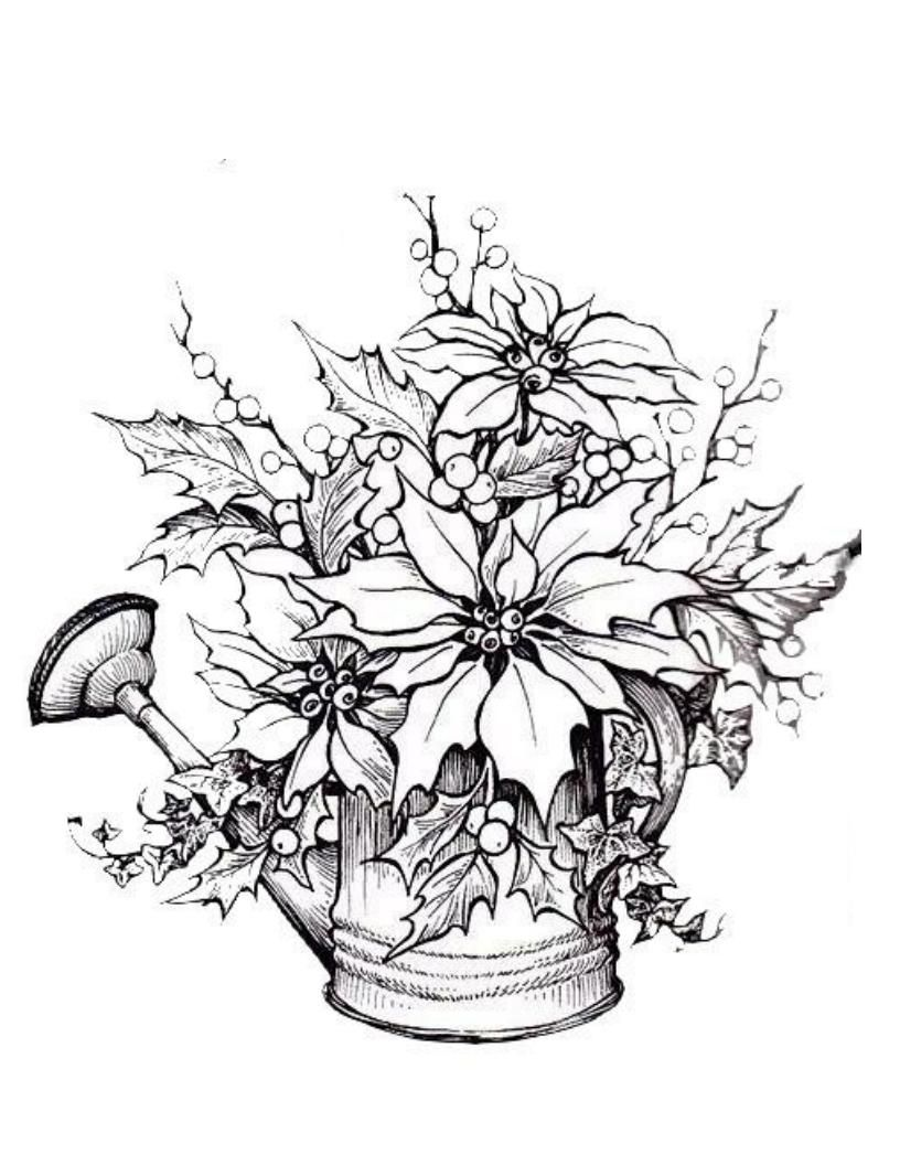 Coloring Pages Poinsettias and Holly in Can Coloring