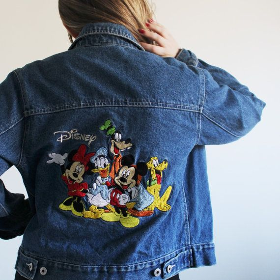 b4261bbb1 Official Disney Denim Jacket / Embroidered Jean Jacket / Mickey ...