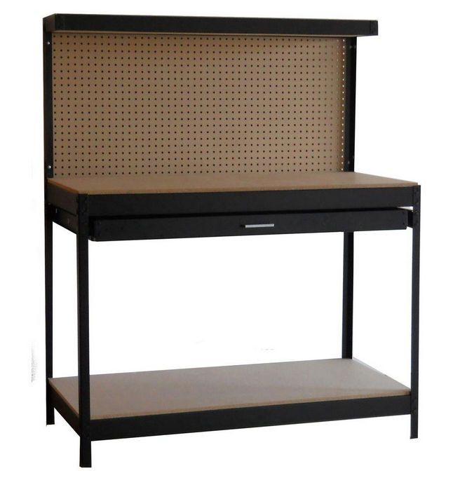 Dateline Steel Workshop Garage Workbench Work Bench Table Tool Storage,  Black #Dateline