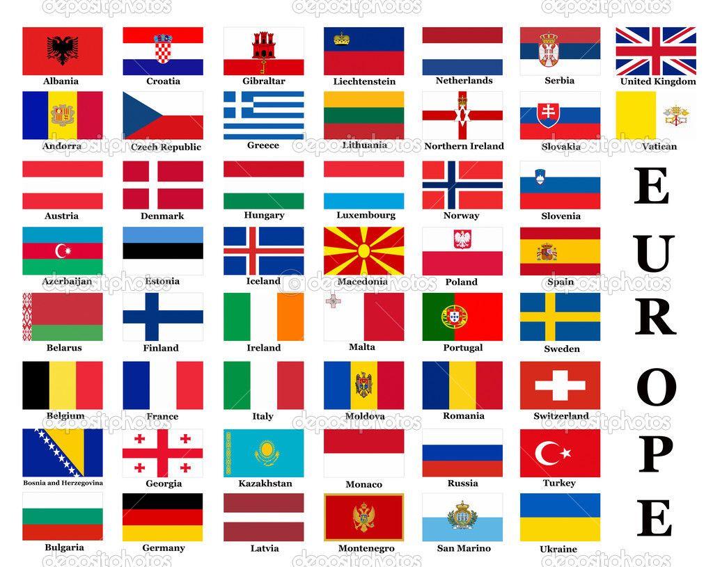 официальный страны европы и их флаги низким