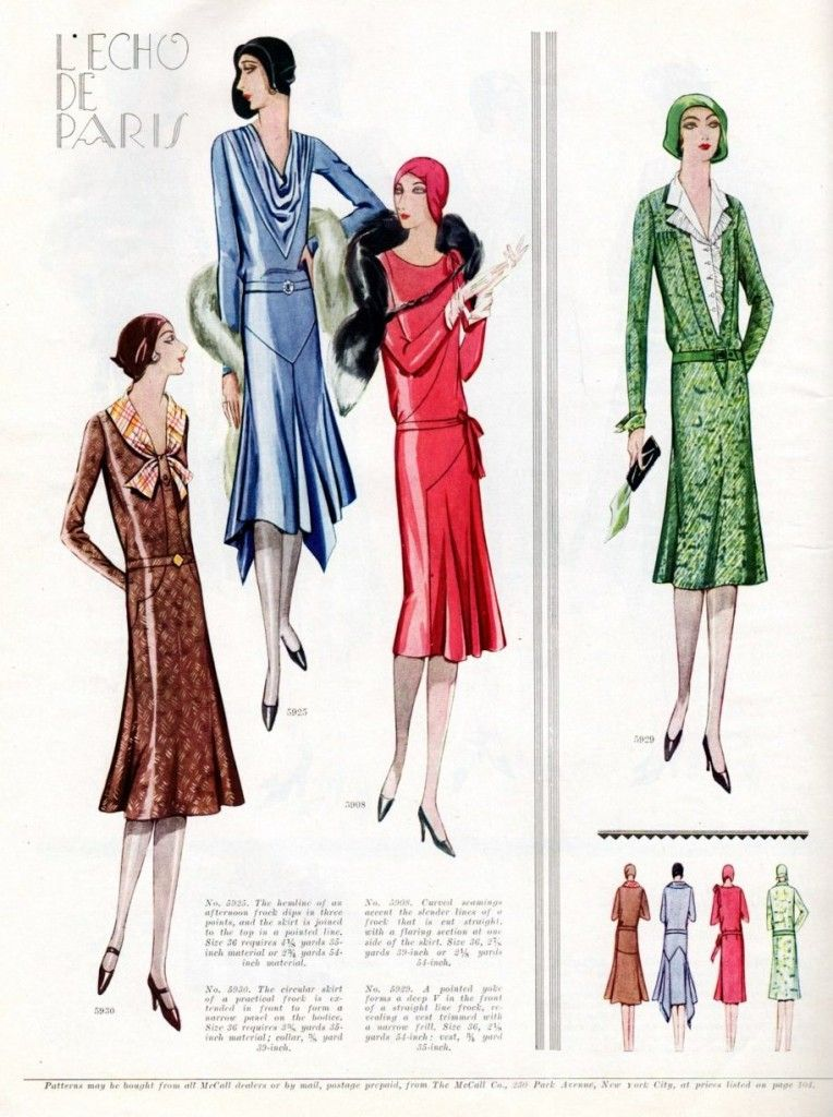 1920\'s Art Deco fashion. From the December 1929 issue of McCall\'s ...