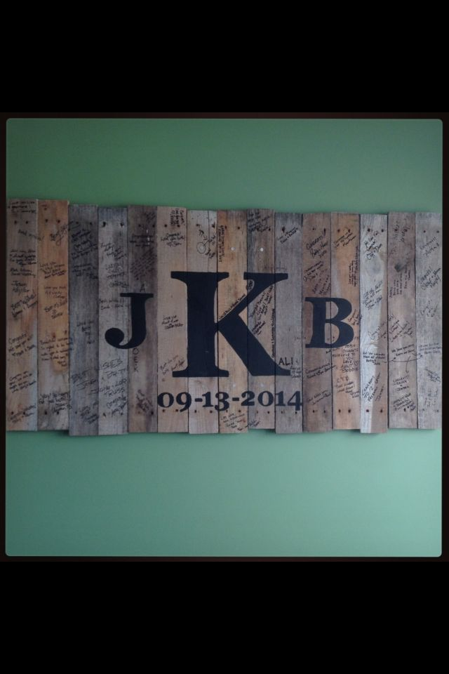 My Husband Made A Sign Out Of Pallet Wood And Painted Our Monogram Wedding Date On It For Unity Ceremony We Nailed The Three Middle Planks