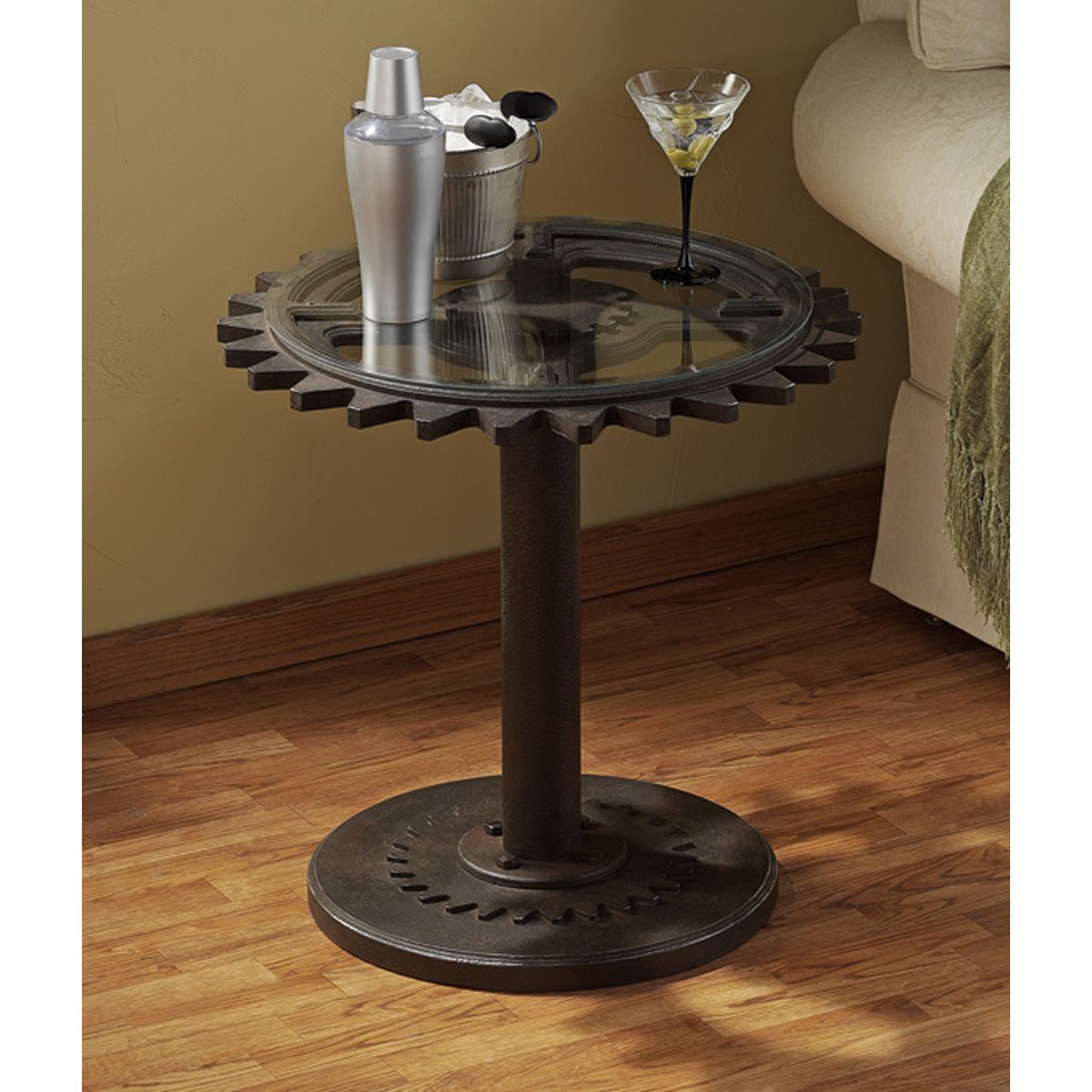 Elegant Authentic Steampunk Industrial Age Gears Side Table