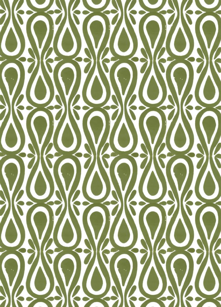 Drop On Over in Moss (green) Hand Block Printed
