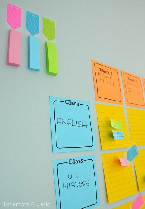 post it note study wall system