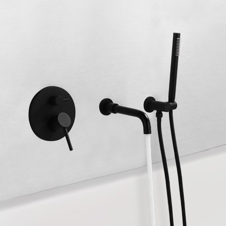 Modern Wall Mount Bathtub Filler Faucet With Handshower In