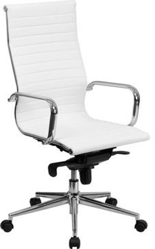High Back Ribbed Upholstered Executive Office Chair Contemporary Task Chairs Contempor White Leather Office Chair White Office Chair Leather Office Chair