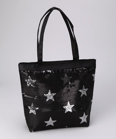 Take a look at this Black Sequin Star Tote by Sparkle Adventure on #zulily today!