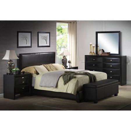 Home Leather Bed Frame Upholstered Bed Frame Black Queen Bed