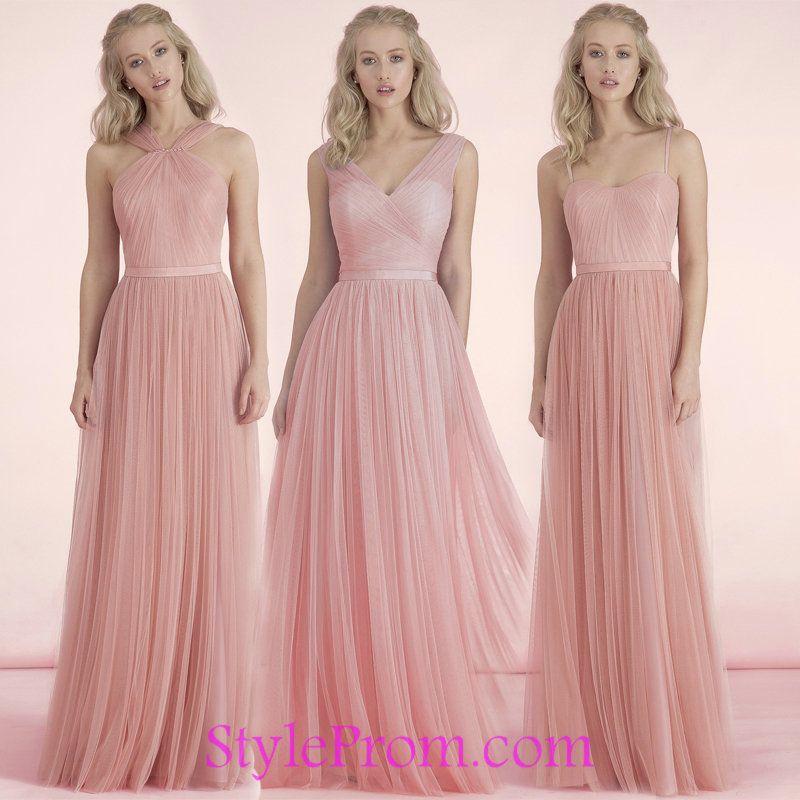 Tulle Long Pink Bridesmaid Group Dresses 2017 | Bridesmaid Group ...