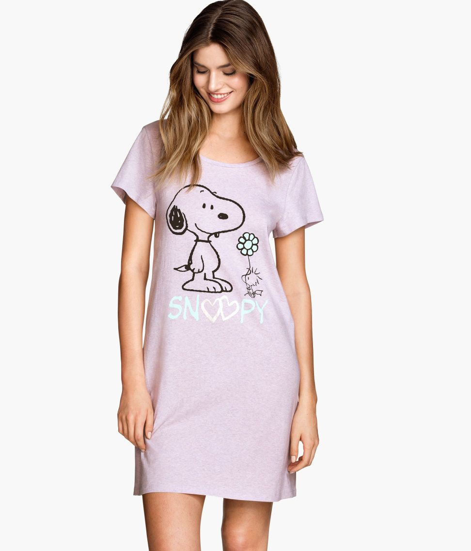 f32cedda26 Cuddle up with Snoopy in this printed pink night shirt.