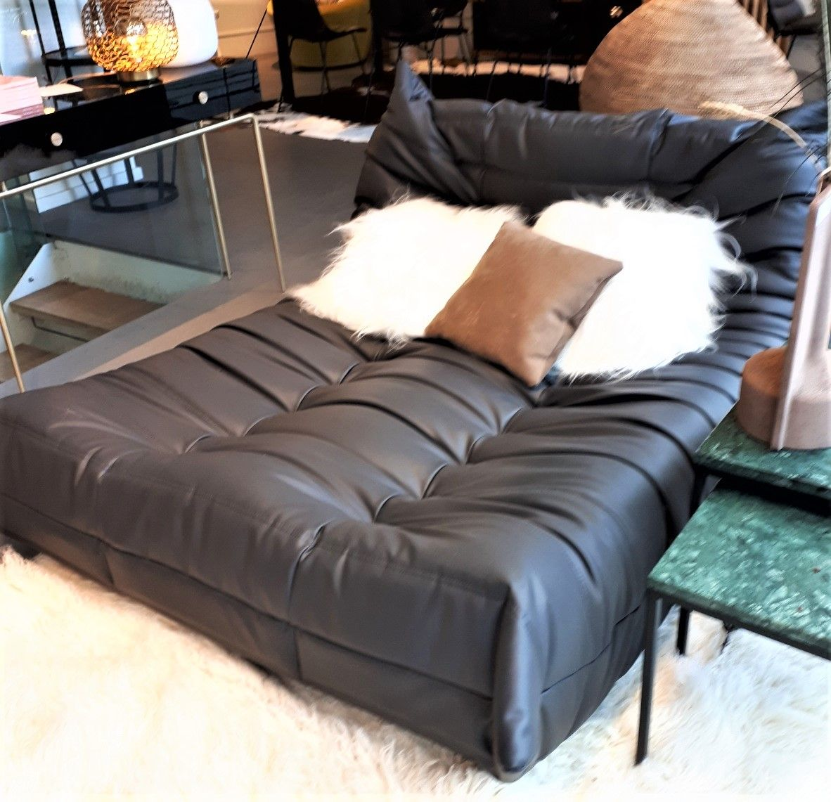 Togo Lounger W131 X D162 X H70cm In One Anthracite Man Made Fibre Fabric Was 2383 Now New Price 1429 Excellent Condition Ligneroset