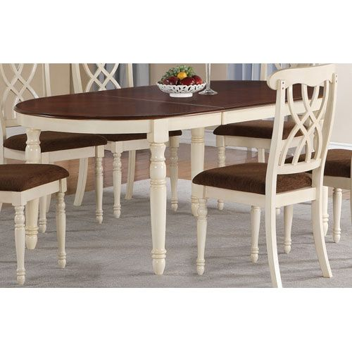 Addison White And Cherry Oval Dining Table With Turned