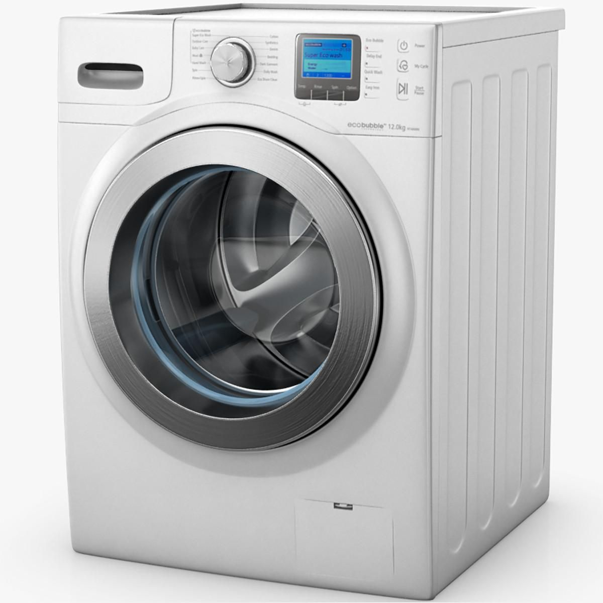 Samsung Ecobubble Washing Machine 3d Model Ad Ecobubble Samsung