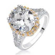 Bling Jewelry Tomkat Two Tone Vintage CZ Oval Shaped Engagement Ring 5ct