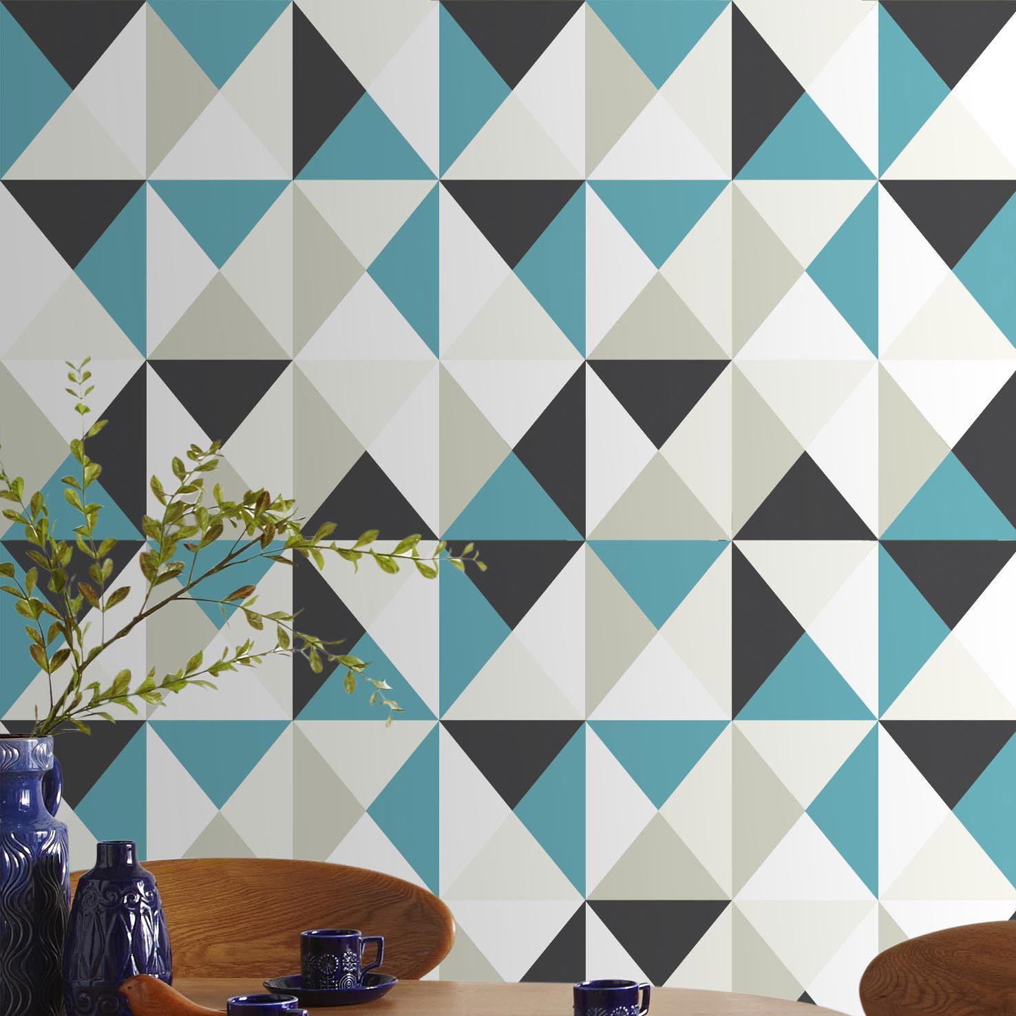 Papier Peint Intisse Polygone Bleu Papier Peint Papier Peint Geometrique Papier Peint Vinyle