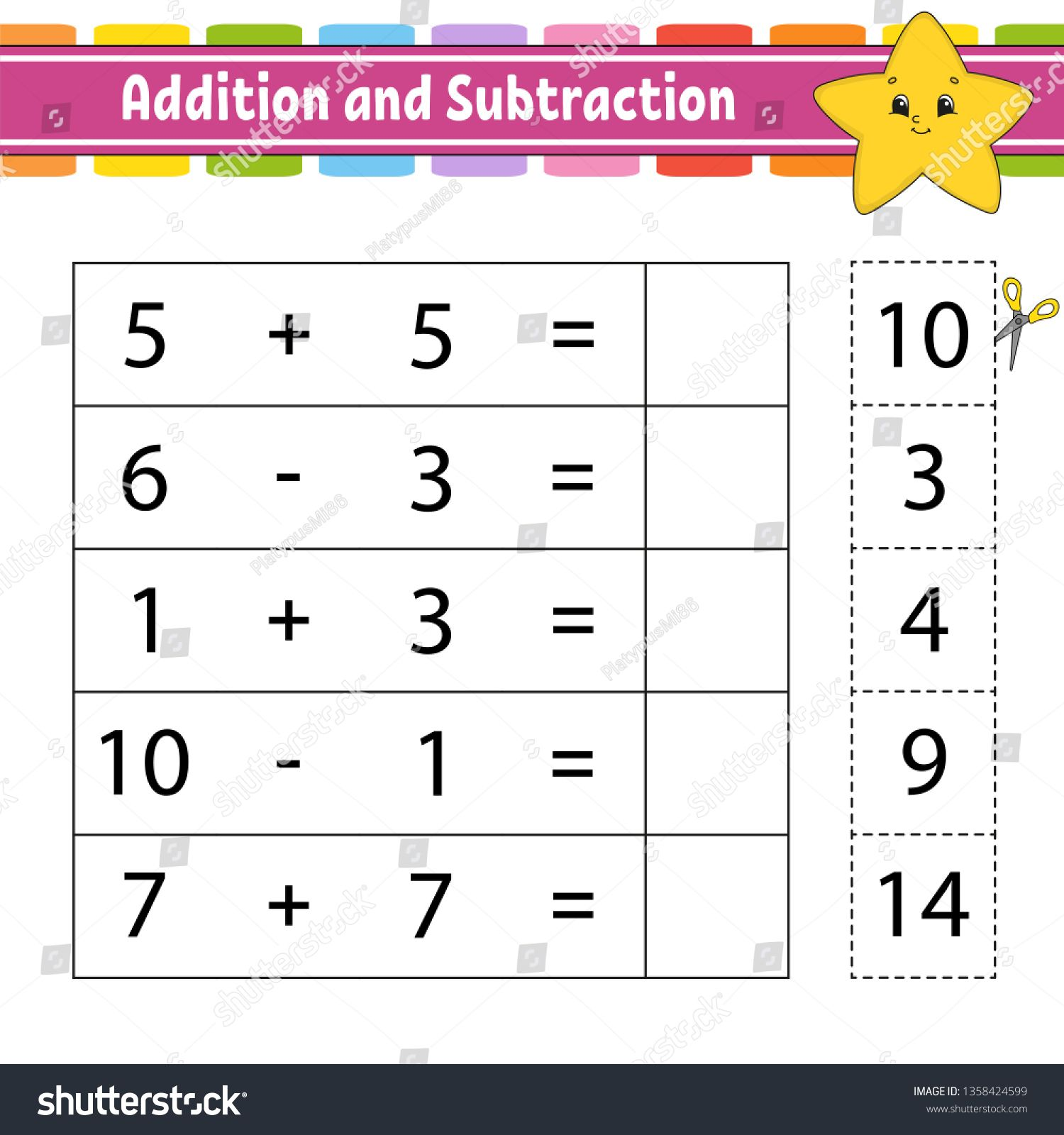 Addition And Subtraction Task For Kids Education Developing Worksheet Activity Page Game For Children Addition And Subtraction Subtraction Kids Education Addition and subtraction scientific