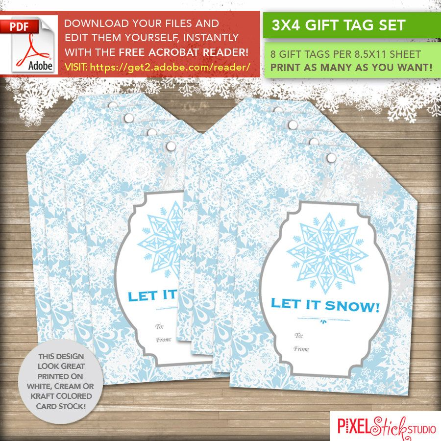 instant download printable gift tag sheet      set of 8