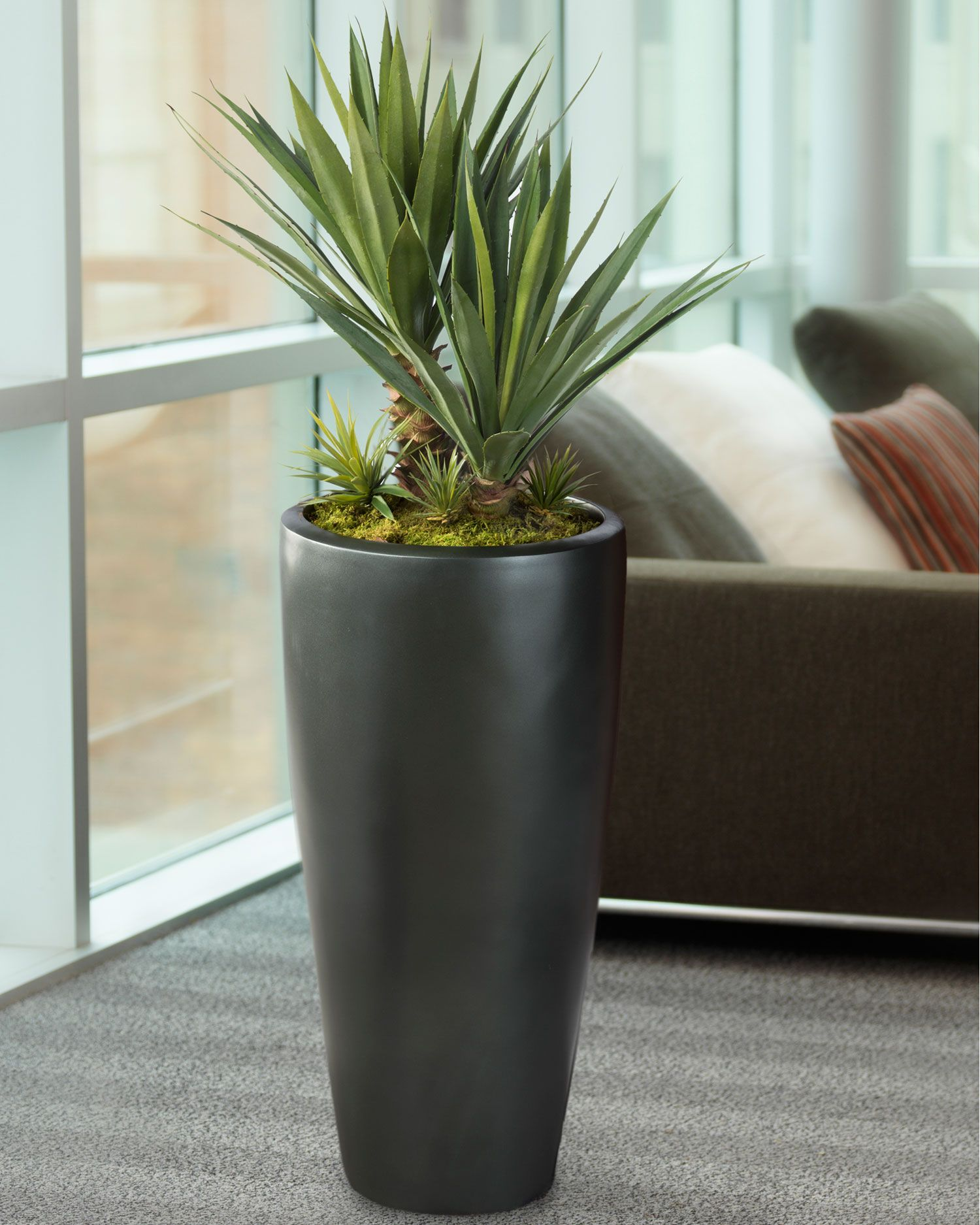 Agave Americana Artificial Plant Large Sold By Www Silkflowers 30 H X 24 W Displayed In Light Graphite Tall Uptown Container