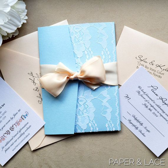 Sofia Powder Blue And Blush Lace Wedding Invitation Pocket Baby