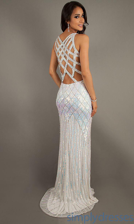 Best Mermaid Long V-neck Open Back Sweep Train Sequin Prom