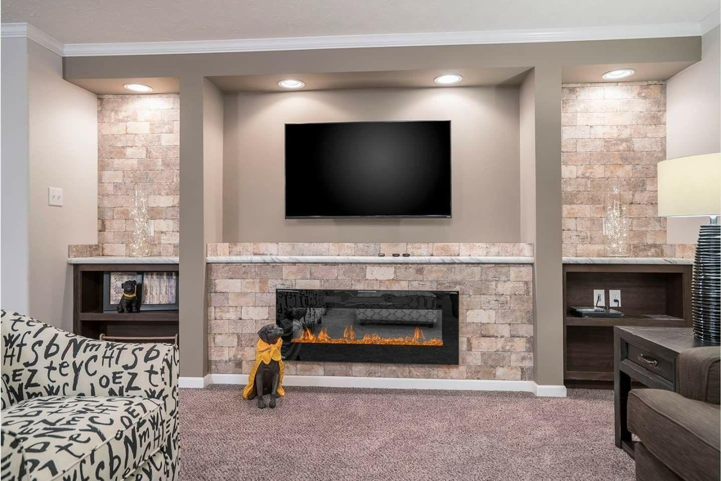 Great Fireplace Idea Small Basement Remodel Living Room Remodel Finishing Basement