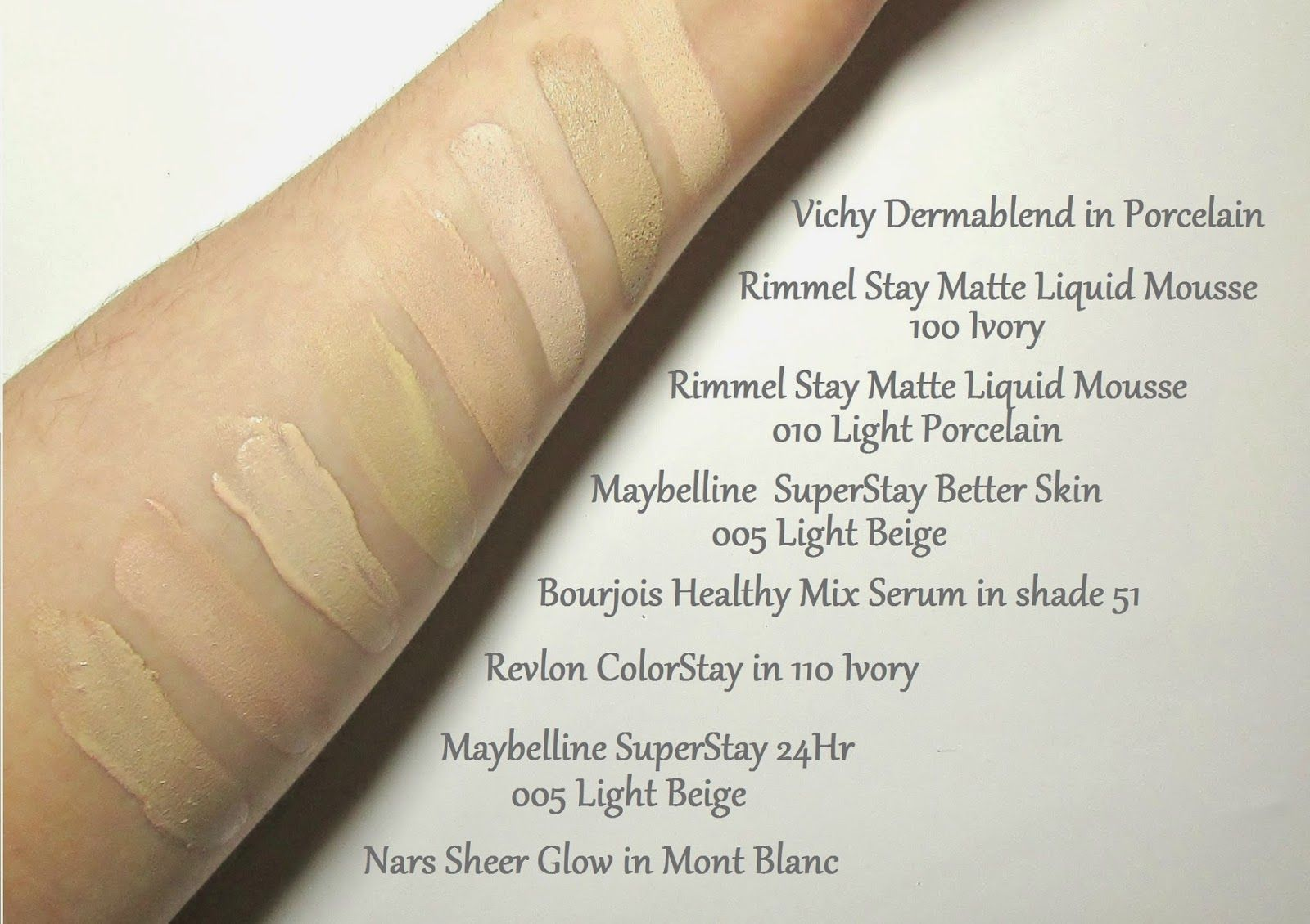 Foundations For Pale Fair Skin Makeup Swatches
