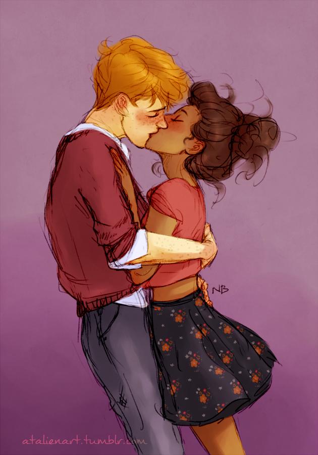 Ron and Hermione by Natello on DeviantArt (acredito que tenha sido feito por conta da atriz da peça, e amei esse desenho *-*)