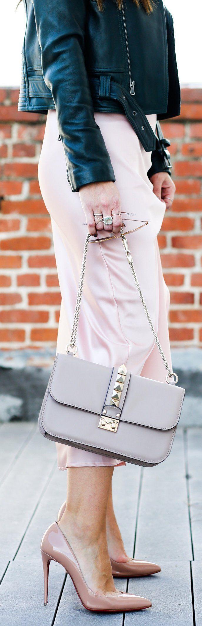 Black Leather Jacket / Grey Shoulder Bag / Pink Silk Dress / Nude Pumps