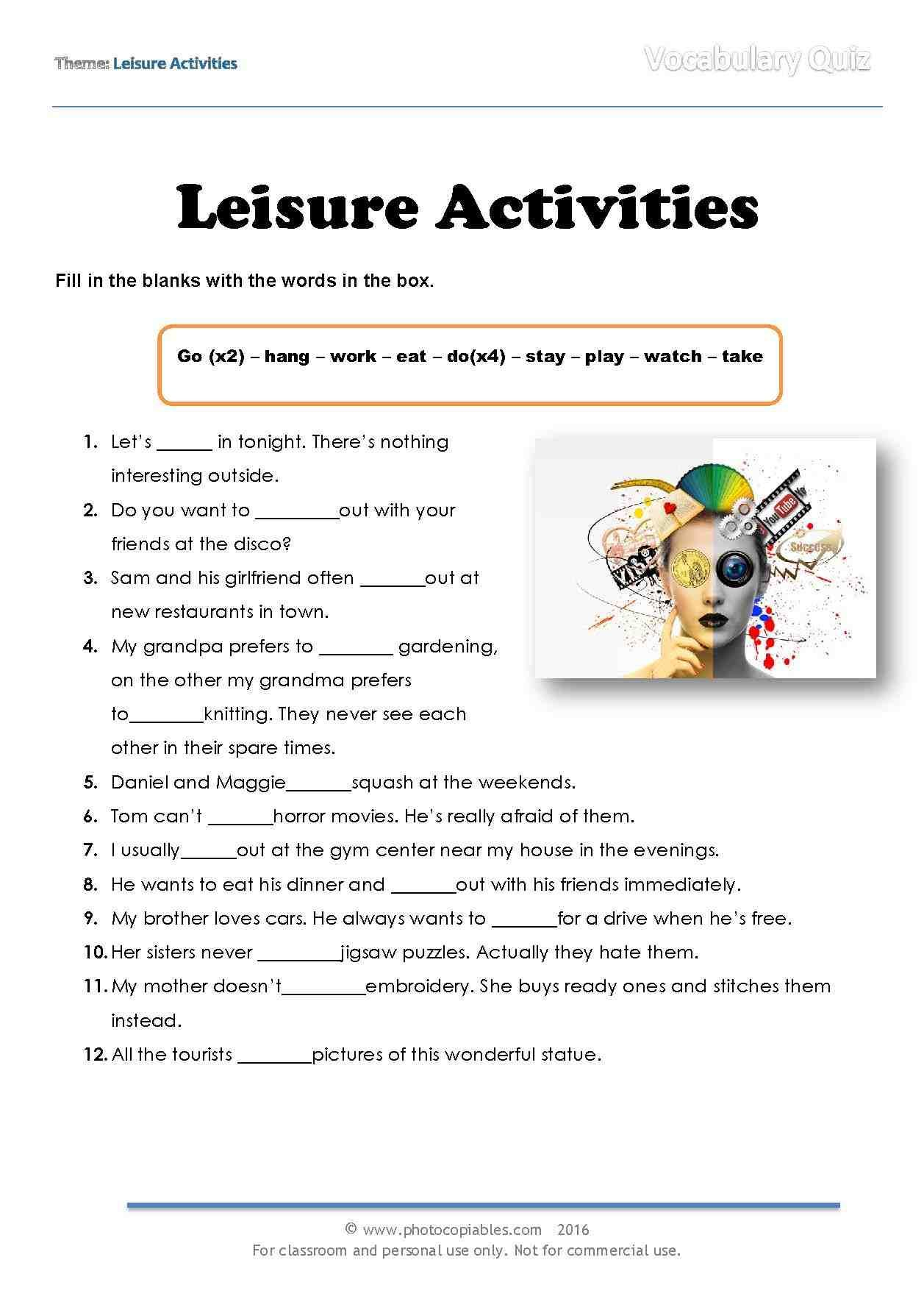 Leisure Activities Vocabulary Quiz With Images